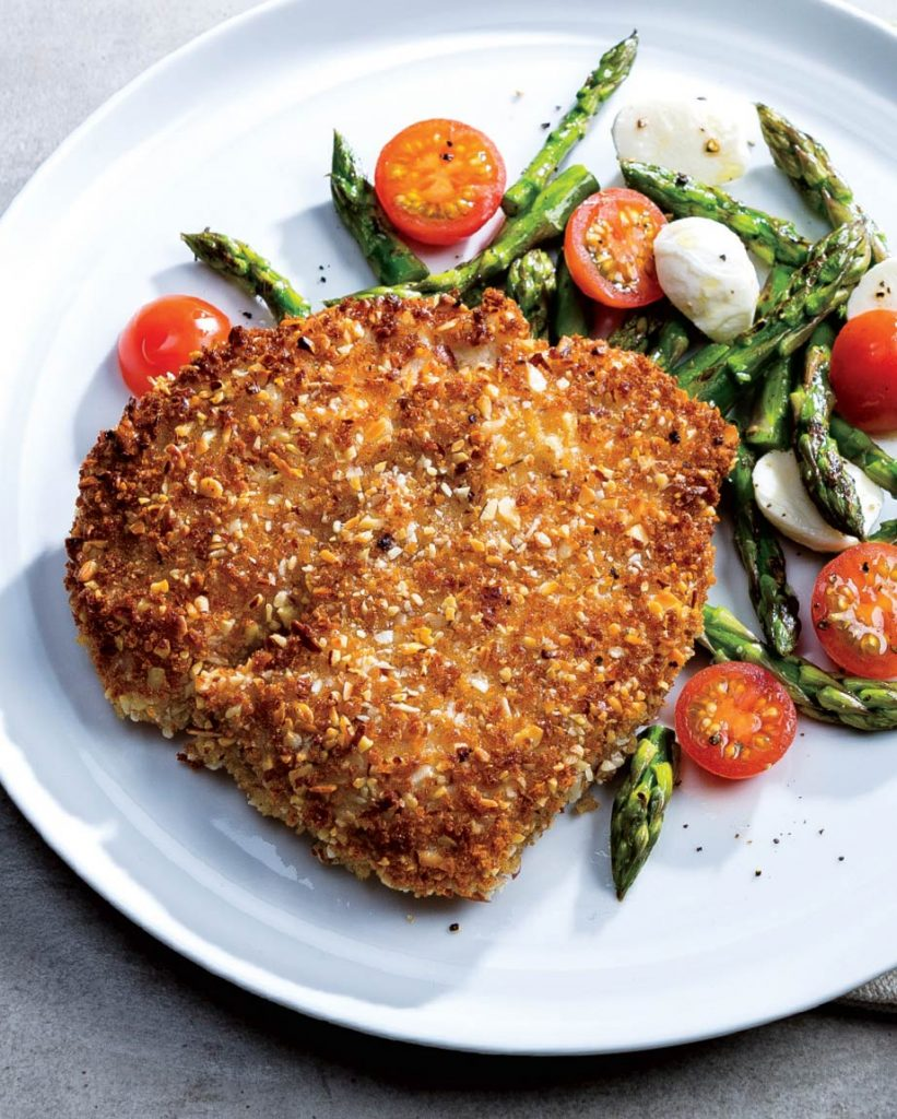 Almond-Crusted Veal Cutlet w/Asparagus Caprese Salad