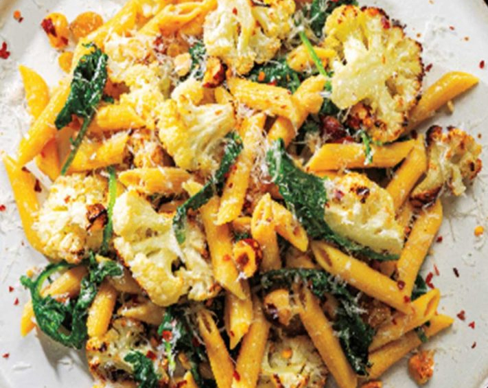 Chickpea Penne with Roasted Cauliflower & Kale