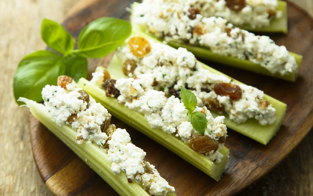 Celery Stuffed with Fig Blue Cheese Spread
