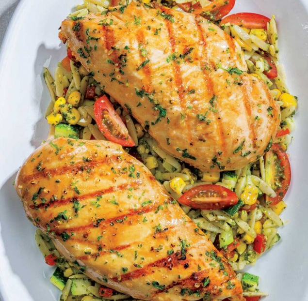 Grilled Chicken with Pesto Orzo Salad