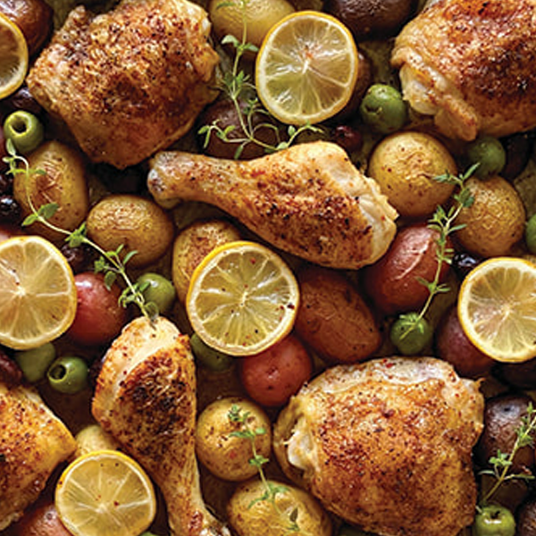 Sheet Pan Chicken with Potatoes and Olives