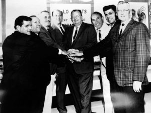Mr. George Zallie, second from the right, joined with other Philadelphia grocers in a local cooperative to keep costs under control, an early indication of his interest in an enterprise like Wakefern Food Corp.